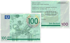Einladungskarte zum Geburtstag Geldschein 100 - Grün (K25)