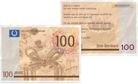 Einladungskarte zum Geburtstag Geldschein 100 - Braun (K25)