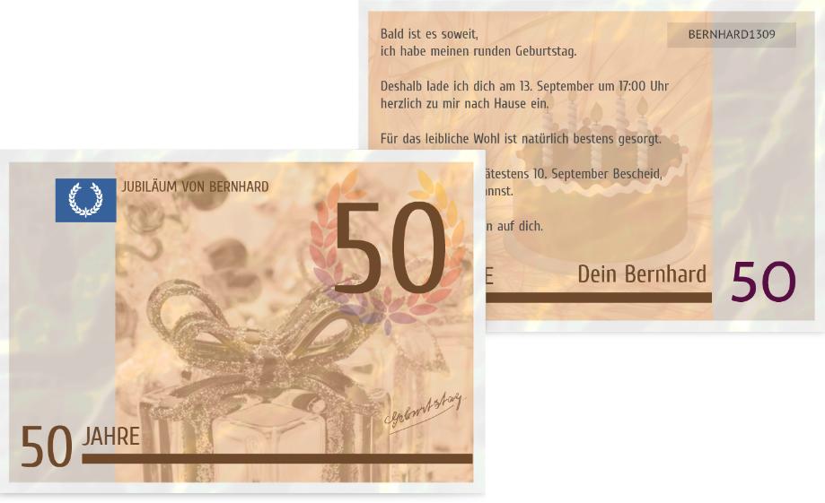 Einladungskarte Zum Geburtstag Geldschein 50 Kartenmanufaktur
