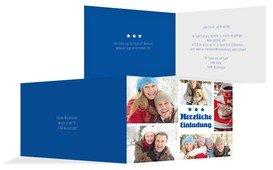 Weihnachtseinladung Bilder - Blau (K19)