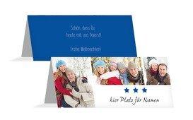 Weihnachtstischkarte Bilder - Blau (K32)