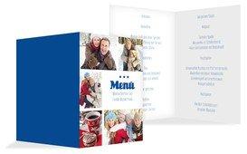 Weihnachtsmenükarte Bilder - Blau (K38)