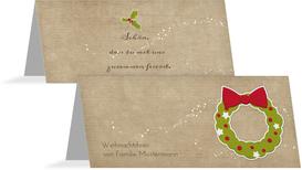Tischkarte Weihnachtskranz - Braun (K32)