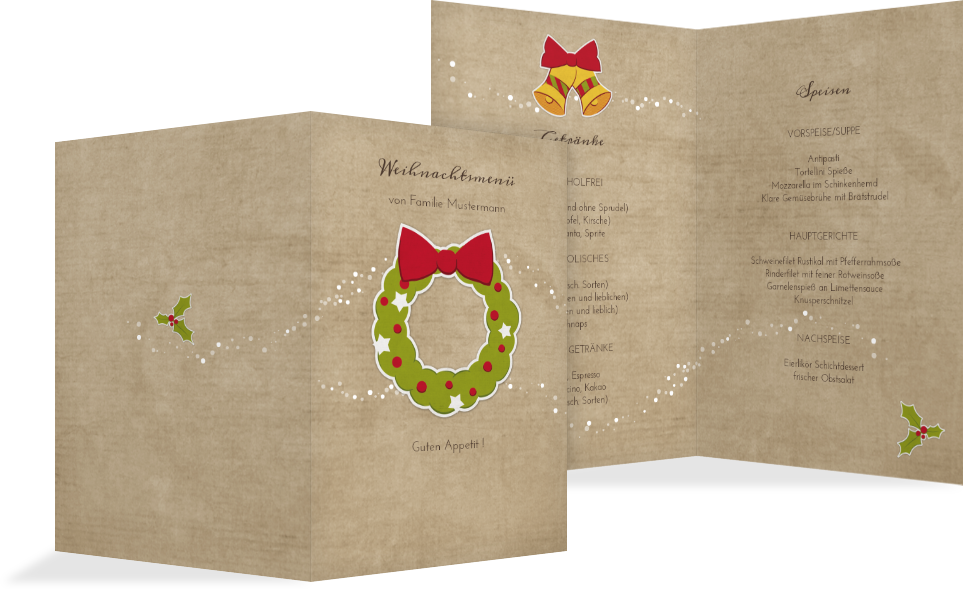 weihnachtsmen karte weihnachtskranz kartenmanufaktur. Black Bedroom Furniture Sets. Home Design Ideas