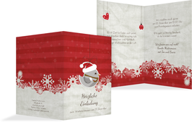 Weihnachtseinladung Vogel - Rot (K20)
