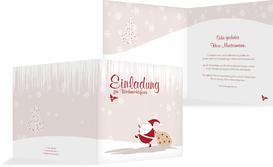 Weihnachtseinladung Weihnachtsmann - Braun (K24)