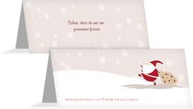 Weihnachtstischkarte Weihnachtsmann - Braun (K32)