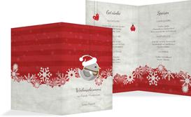 Weihnachtsmenükarte Vogel - Rot (K38)