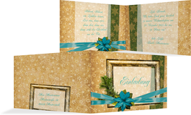 Weihnachtsgrußkarte Goldenes Geschenk - Türkis (K19)