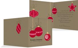 Weihnachtseinladung Bunte Kugeln - Rot (K24)