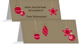 Weihnachtstischkarte Bunte Kugeln - Rot (K32)