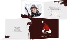 Weihnachts Grußkarte privat Farbenmütze - Rot (K19)