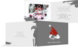 Weihnachts Grußkarte privat Farbenmütze - Grau (K19)