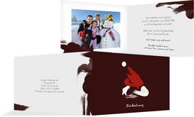 Weihnachts Einladungskarte privat Farbenmütze - Rot (K19)