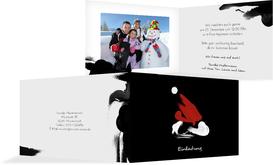 Weihnachts Einladungskarte privat Farbenmütze - Schwarz (K19)