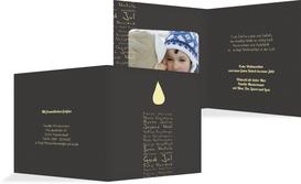 Weihnachts Grußkarte privat Schriftkerze - Braun (K24)