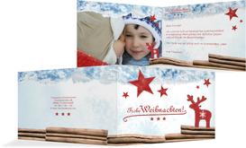 Grußkarte zu Weihnachten Privat Sternenhimmel - Rot (K19)