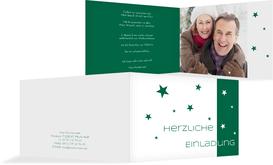 Einladung zu Weihnachtsfeier Privat Classic Stars - Grün (K19)