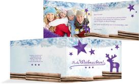 Grußkarte zu Weihnachten Privat Sternenhimmel - Lila (K19)