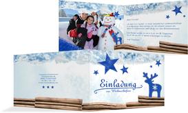 Weihnachtseinladung Privat Sternenhimmel - Blau (K19)