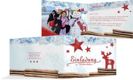 Weihnachtseinladung Privat Sternenhimmel - Rot (K19)
