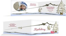 Einladungskarte Privat Weihnachten Scribble - Rot (K33)