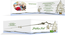 Grußkarte Privat Weihnachten Scribble - Grün (K33)