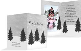 Foto Weihnachtseinladung Winterwald - Grau (K20)