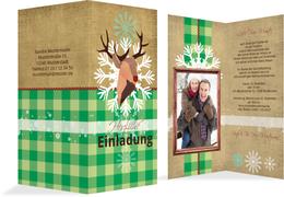 Foto Weihnachtseinladung Hirschkopf  - Grün (K35)