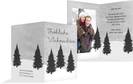 Foto Weihnachtsgrußkarte Winterwald - Grau (K20)