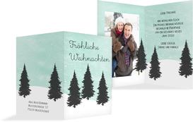 Foto Weihnachtsgrußkarte Winterwald - Türkis (K20)