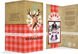 Foto Weihnachtsgrußkarte Hirschkopf   - Rot (K35)