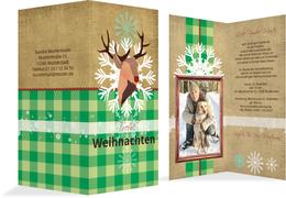 Foto Weihnachtsgrußkarte Hirschkopf   - Grün (K35)