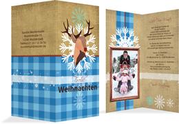 Foto Weihnachtsgrußkarte Hirschkopf   - Blau (K35)