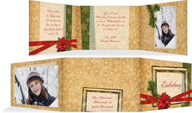 Foto Weihnachtseinladung Goldenes Geschenk - Rot (K21)