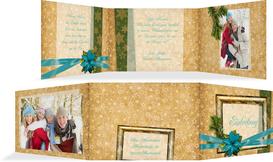 Foto Weihnachtseinladung Goldenes Geschenk - Türkis (K21)