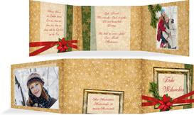 Foto Weihnachtsgrußkarte Goldenes Geschenk - Rot (K21)