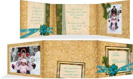 Foto Weihnachtsgrußkarte Goldenes Geschenk - Türkis (K21)