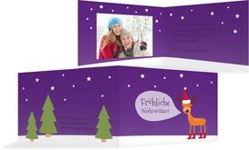 Fotoweihnachtsgrußkarte Rentier - Lila (K19)