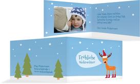 Fotoweihnachtsgrußkarte Rentier - Hellblau (K19)