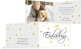 Foto Weihnachtseinladung Sterne - Gelb (K19)