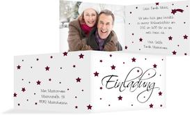 Foto Weihnachtseinladung Sterne - Rot (K19)