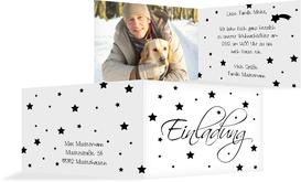 Foto Weihnachtseinladung Sterne - Schwarz (K19)