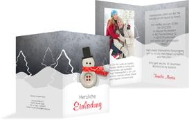 Foto Weihnachtseinladung Knopfmännchen - Rot (K20)