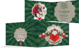 Foto Weihnachtseinladung Origami  - Grün (K19)