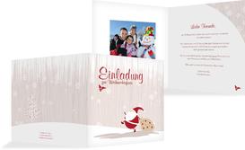 Foto Weihnachtseinladung Weihnachtsmann - Braun (K24)