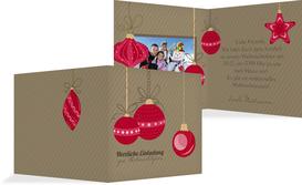 Foto Weihnachtseinladung Bunte Kugeln - Rot (K24)