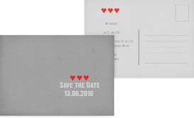 Save the Date Vintage Herzen - Grau (K25)