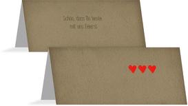 Tischkarte Vintage Herzen - Braun (K32)