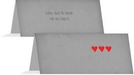 Tischkarte Vintage Herzen - Grau (K32)